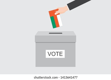 Ballot Box with an Illustrated Flag for the Country of  Oman
