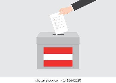 Ballot Box with an Illustrated Flag for the Country of  Austria