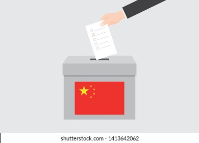 Ballot Box with an Illustrated Flag for the Country of  China