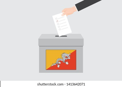 Ballot Box with an Illustrated Flag for the Country of  Bhutan