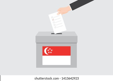 Ballot Box with an Illustrated Flag for the Country of  Singapore
