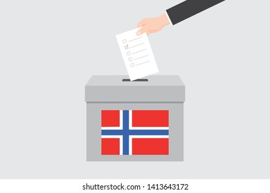Ballot Box with an Illustrated Flag for the Country of  Norway