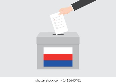 Ballot Box with an Illustrated Flag for the Country of  Serbia