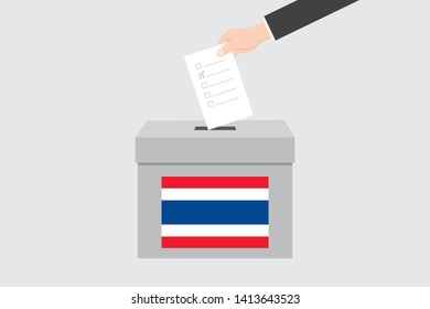 Ballot Box with an Illustrated Flag for the Country of  Thailand