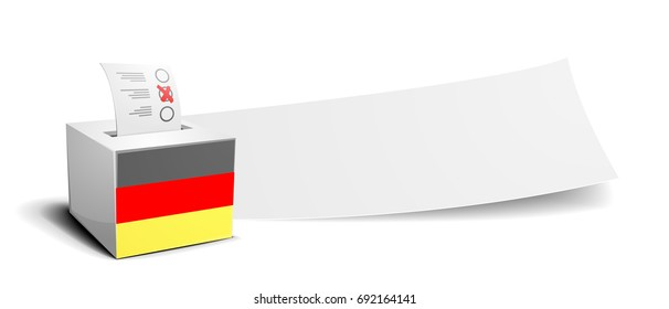 ballot box with national flag of germany in front of an empty banner, election concept, eps10 vector