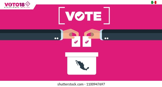 Ballot Box Person Casting Vote , Hand Putting Paper in the ballot box