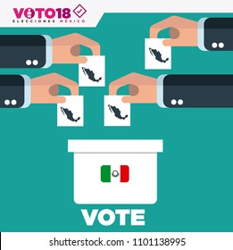 Ballot Box Person Casting Vote , Hand Putting Paper in the ballot box,  Mexico Elections 2018, elecciones Mexico 2018, spanish text.