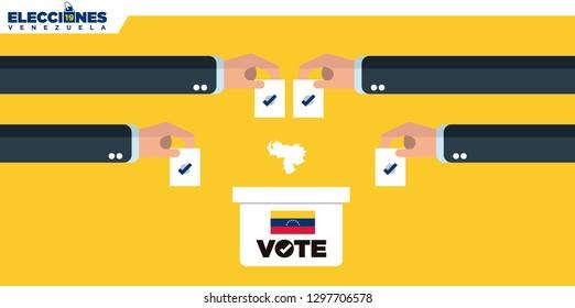 Ballot Box Person Casting Vote , Hand Putting Paper in the ballot box, Venezuela Elections 2019