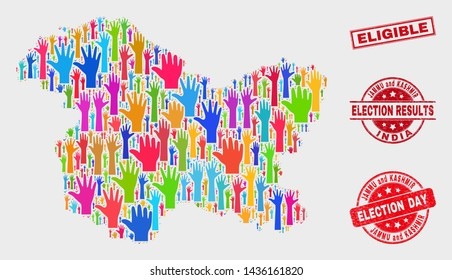 Ballot Jammu and Kashmir State map and watermarks. Red rectangular Eligible distress stamp. Colorful Jammu and Kashmir State map mosaic of raised up decision arms. Vector collage for election day,