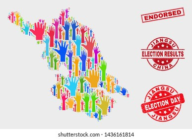 Ballot Jiangsu Province map and seals. Red rectangular Endorsed distress seal stamp. Colorful Jiangsu Province map mosaic of raised up solution arms. Vector collage for election day,