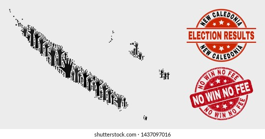 Ballot New Caledonia Islands map and watermarks. Red rounded No Win No Fee textured seal. Black New Caledonia Islands map mosaic of raised electoral arms. Vector collage for ballot results,