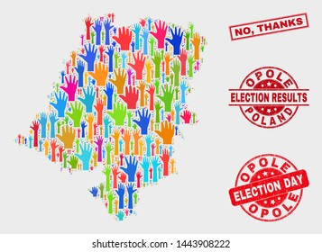 Ballot Opole Voivodeship map and watermarks. Red rectangular No, Thanks grunge seal stamp. Bright Opole Voivodeship map mosaic of raised selection arms. Vector composition for election day,