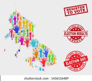 Ballot Skyros Island map and watermarks. Red rectangle Register to Vote scratched stamp. Colored Skyros Island map mosaic of raised up ballot arms. Vector combination for election day,
