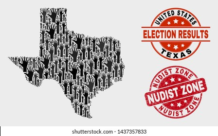 Ballot Texas State map and watermarks. Red rounded Nudist Zone scratched stamp. Black Texas State map mosaic of raised ballot hands. Vector collage for ballot results, with Nudist Zone seal stamp.