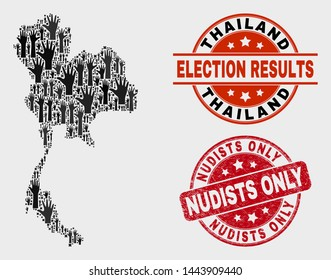 Ballot Thailand map and seals. Red rounded Nudists Only scratched stamp. Black Thailand map mosaic of upwards ballot hands. Vector combination for ballot results, with Nudists Only seal.