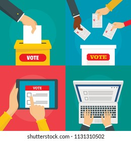 Ballot voting box vote polling banner concept set. Flat illustration of 4 ballot voting box vote polling vector banner horizontal concepts for web