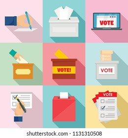 Ballot voting box vote polling icons set. Flat illustration of 9 ballot voting box vote polling vector icons for web