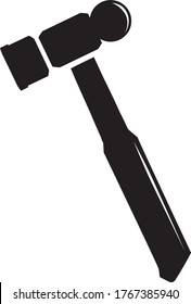 Ball-peen Hammer Icon Isolated On White Background - Carpentry Tool Silhouette