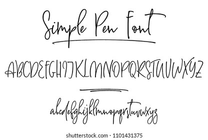 Ballpen lettering vector alphabet. Uppercase and lowercase handwritten letters. Modern calligraphy, vector illustration.