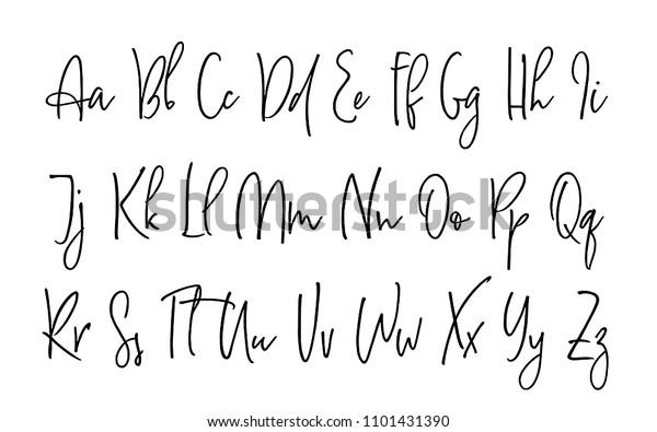 Ballpen Lettering Vector Alphabet Uppercase Lowercase Stock