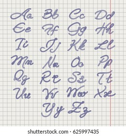 Ballpoin drawing rope alphabet on notebook page. Vector illustration