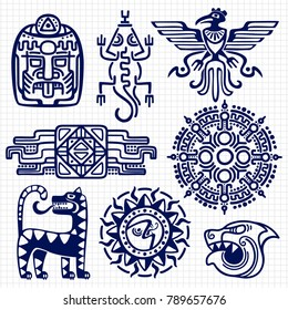 Ballpoint pen american aztec, mayan culture native totems on notebook background. American indian and mexican mascot. Vector illustration