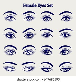 Ballpoint pen drawing female eyes set isolated on grey backdrop. Vector illustration