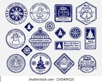 Ballpoint pen Santa mail stamps vector set. Illustration of mail stamp, santa postmark illustration
