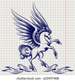 Ballpoint pen sketch of Pegasus with wings and ribbon on notebook page. Vector illustration