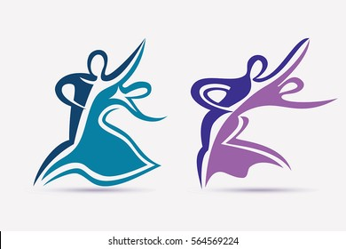 Ballroom couple dance symbols collection, stylized vector icons set