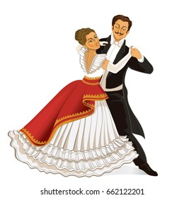 Ballroom dance. Couple dancing waltz vintage. Vector illustration.