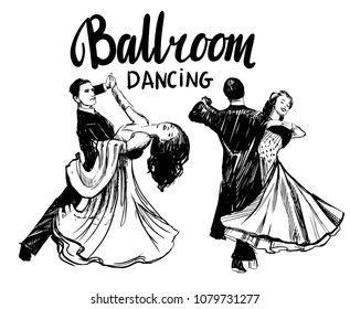 Ballroom dance. Couples dancing waltz. Hand drawn vector illustration. Isolated