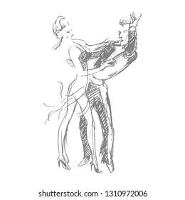 Ballroom dancers. Ballroom dancing. Dancing couple. WDC, JBDF. Professional dancers. Ballroom & latin. Latin dance: Salsa, Tango, Rumba. Pencil sketch. Hand drawn. Vector illustration.