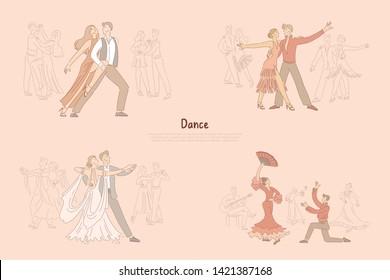Ballroom dancers performance, graceful couples dancing tango, rumba, foxtrot, passionate flamenco banner