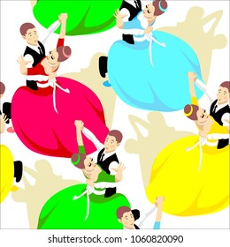 Ballroom dances of standard style.Variants of dance such as waltz, foxtrot, quickstep, tango.Partner dance, an interesting pose.Seamless background in swatch panel.Twisting dancing couples.Flat design
