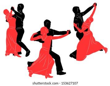 ballroom dancing. Vector silhouettes for your design