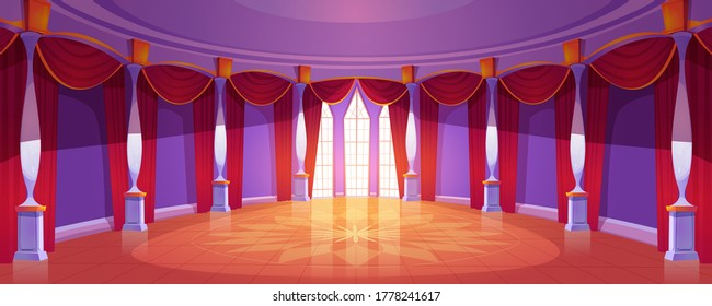 Ballroom interior in medieval royal castle. Vector cartoon illustration of empty round banquet hall in baroque palace with columns, tall windows, red curtains and glossy floor