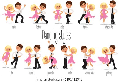 Ballroom kids dancing. Cartoon child illustration. Tango pasodoble Rumba Waltz Samba Foxtrot Polka Tango Cha cha cha Jive Rumba Quickstep in vector