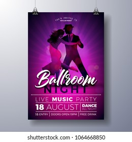 Ballroom Night Party Flyer illustration with couple dancing tango on purple background. Vector design template for invitation poster, promotional banner, brochure, or greeting card.