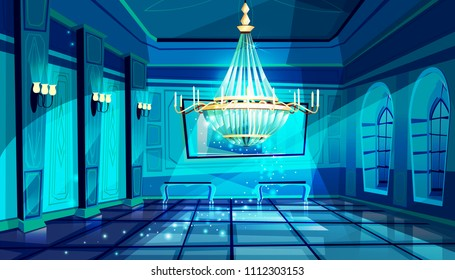 Ballroom in night vector illustration of palace hall with crystal chandelier and midnight magic moonlight sparkles. Flat cartoon royal ball room interior background with candelabra lamps