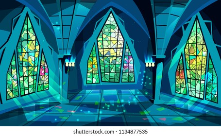 Ballroom or palace vector illustration of royal gothic hall at night with stained glass windows and moon light reflection on floor. Cartoon ball room or king apartment and museum interior background