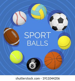 Balls assortment cartoon set. Sport equipment for tennis, volleyball, football, billiard, basketball, rugby, soccer. Hobby, healthy, active lifestyle. Vector collection on blue background.