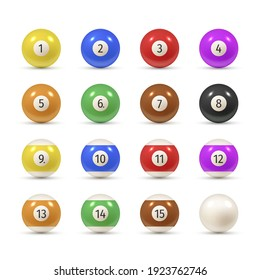 Balls for billiards varicolored realistic set. American pool, snooker numbered equipment, accessories. Cue sport tools with digits. Vector collection balls illustration isolated on white background.