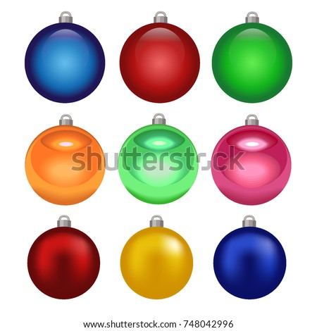 Balls Christmas Ornaments Set Different Colors Stock Vector Royalty