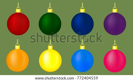 balls for christmas tree in red green blue purple orange yellow - Orange Coloured Christmas Tree Decorations