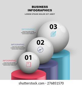 balls with data on columns vector infographics element