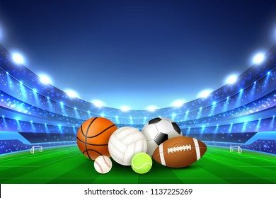 Balls for different team sport games collected in center of stadium playing field and tribunes illumined by floodlights realistic vector illustration