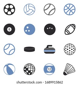 Balls Icons. Two Tone Flat Design. Vector Illustration.