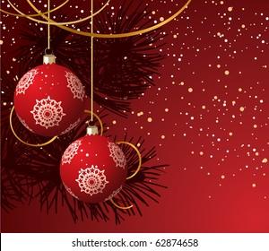 Balls on the Christmas tree and snow