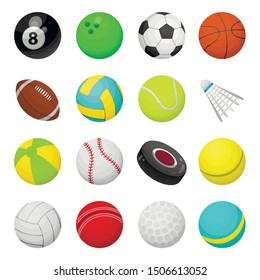 Balls for playing games vector illustrations set. Round sports equipment icons isolated on white background. Oval shaped leather rugby inventory. Tennis, ice hockey, bowling, tennis, golf symbols pack